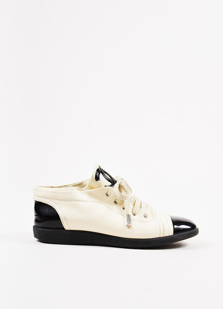 "Chanel ""Blanc"" White and Black Patent Leather Cap Toe 'CC' Sneakers Sideview"