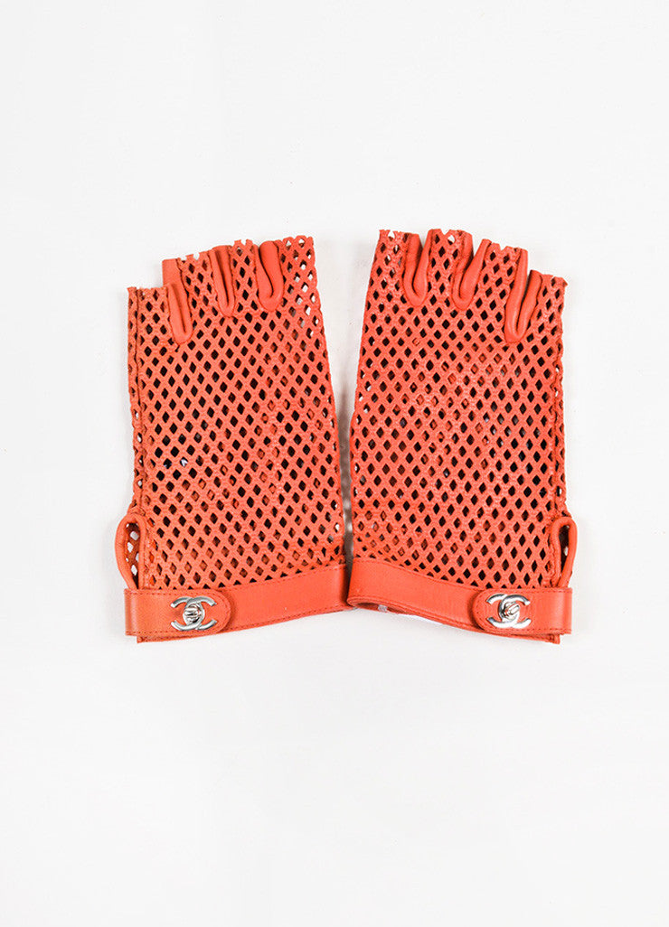 Chanel Red Leather Perforated Fingerless Gloves Frontview