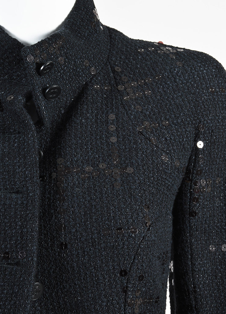 Chanel Black Cotton and Wool Tweed Sequined Blazer Skirt Suit Detail