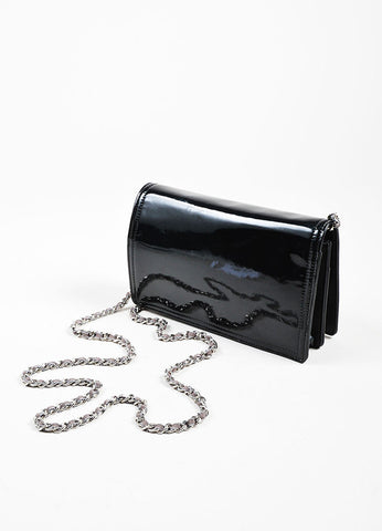 Black and Multicolor Chanel Patent Leather Convertible Clutch Crossbody Bag Backview