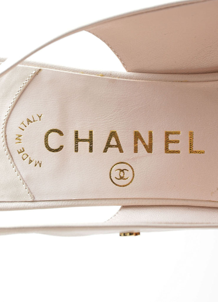 Cream Chanel Leather Pointed Toe 'CC' Slingback Pumps Brand