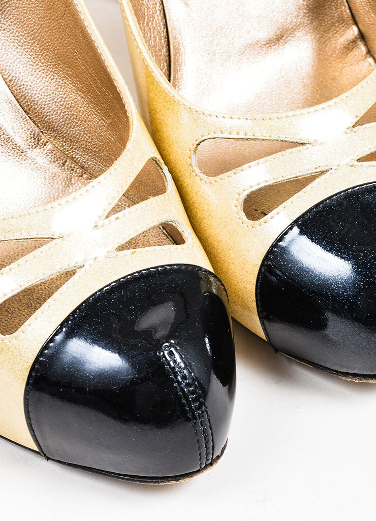 Gold and Black Chanel Patent Leather Glitter Pumps Detail