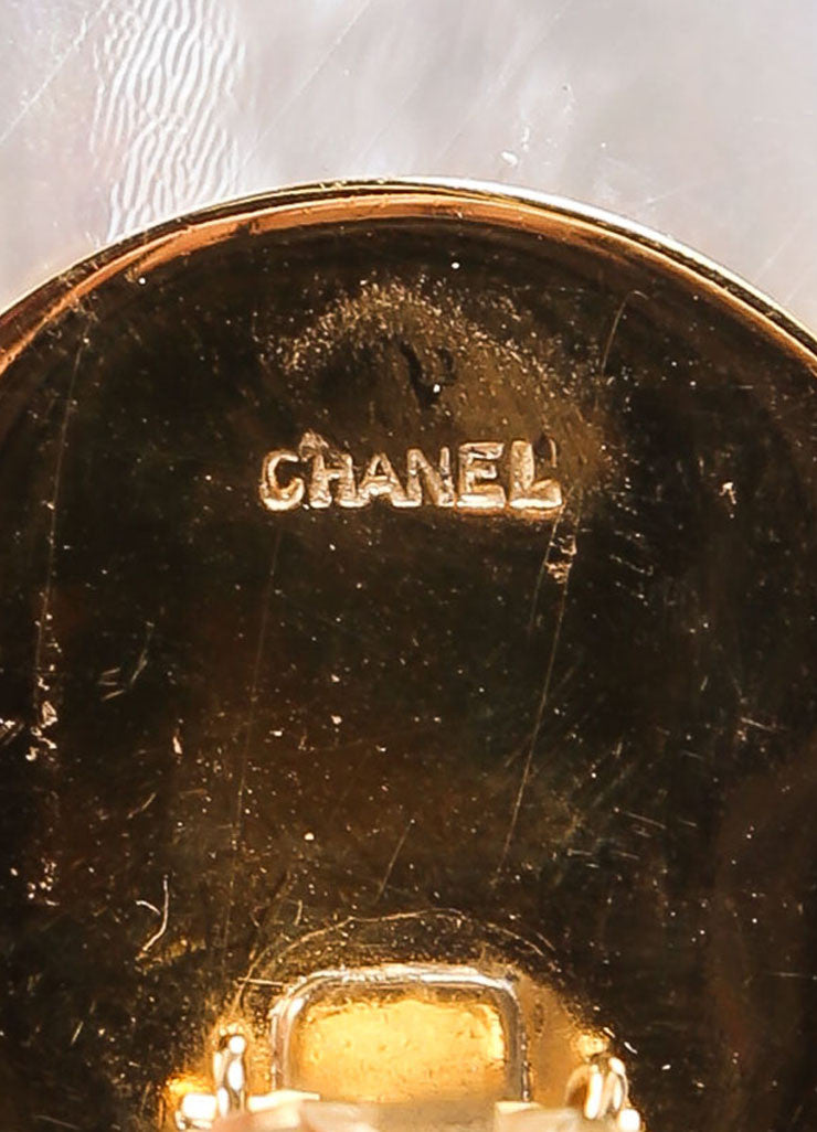 "Chanel Gold Toned Black Quilted Faux Mother of Pearl ""CC"" Round Earrings Brand"