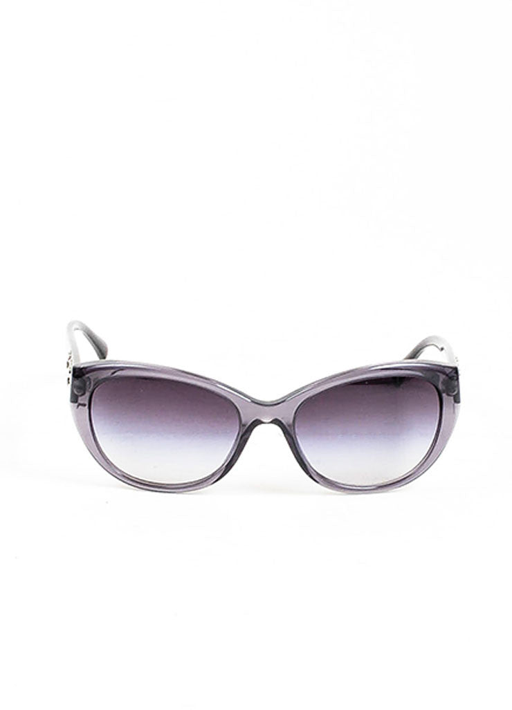 "Grey Chanel Floral Embellished Oval Ombre Lens ""Camellia"" Sunglasses Frontview"