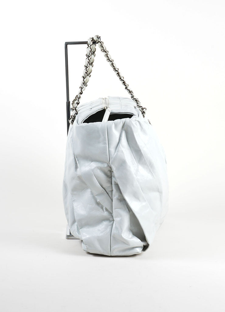 "Chanel Grey Glazed Calfskin Leather Twisted Chain Strap ""CC"" Tote Bag Sideview"