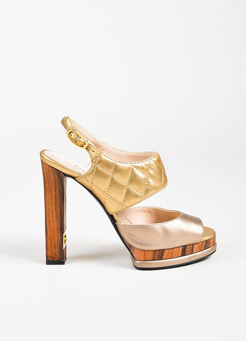 Chanel Metallic Gold Leather Quilted Peep Toe Wooden Heel Platform Sandals Sideview