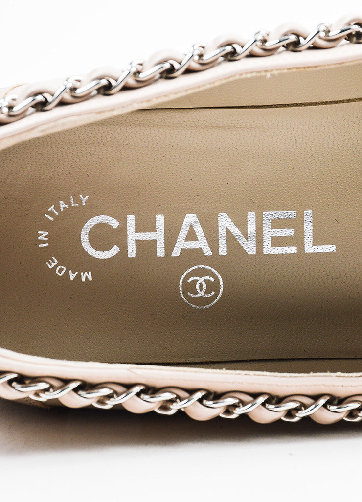 Chanel Pale Pink, Tan, and Silver Toned Leather Chain Trim Loafers Brand