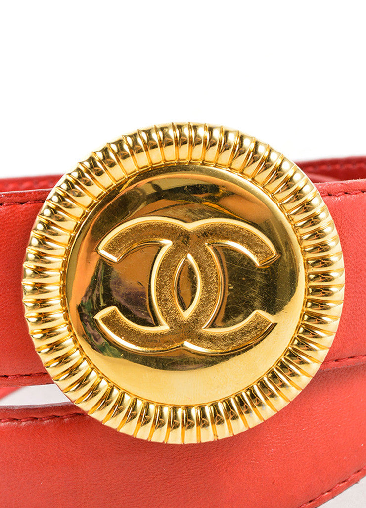 "Chanel Red and Gold Toned Leather ""CC"" Round Buckle Belt Detail"