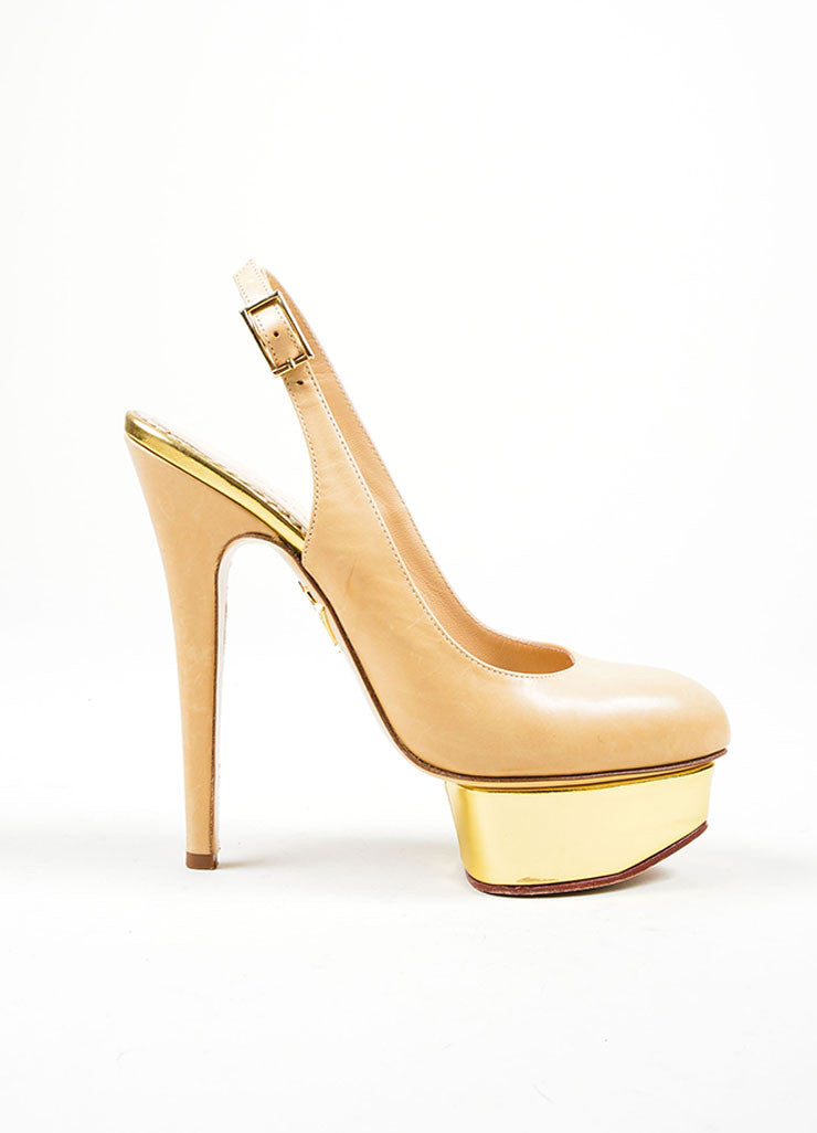 Nude and Gold Charlotte Olympia Leather Metallic Platform Slingback Pumps Sideview