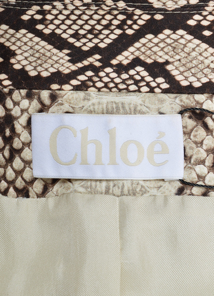 Brown and Beige Chloe Snakeskin Print Cotton Coat Brand