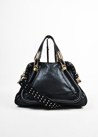 "Black and Gold Toned Chloe Leather and Suede Studded Medium ""Paraty Military"" Bag Frontview"