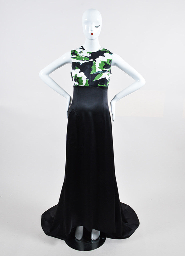 Black, Green, and White Christian Dior Silk Printed Gown Frontview
