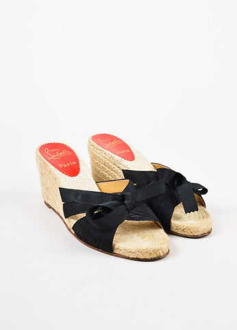 "Christian Louboutin Black Strappy Bow Wedge ""Tiburon"" Mule Sandals Frontview"