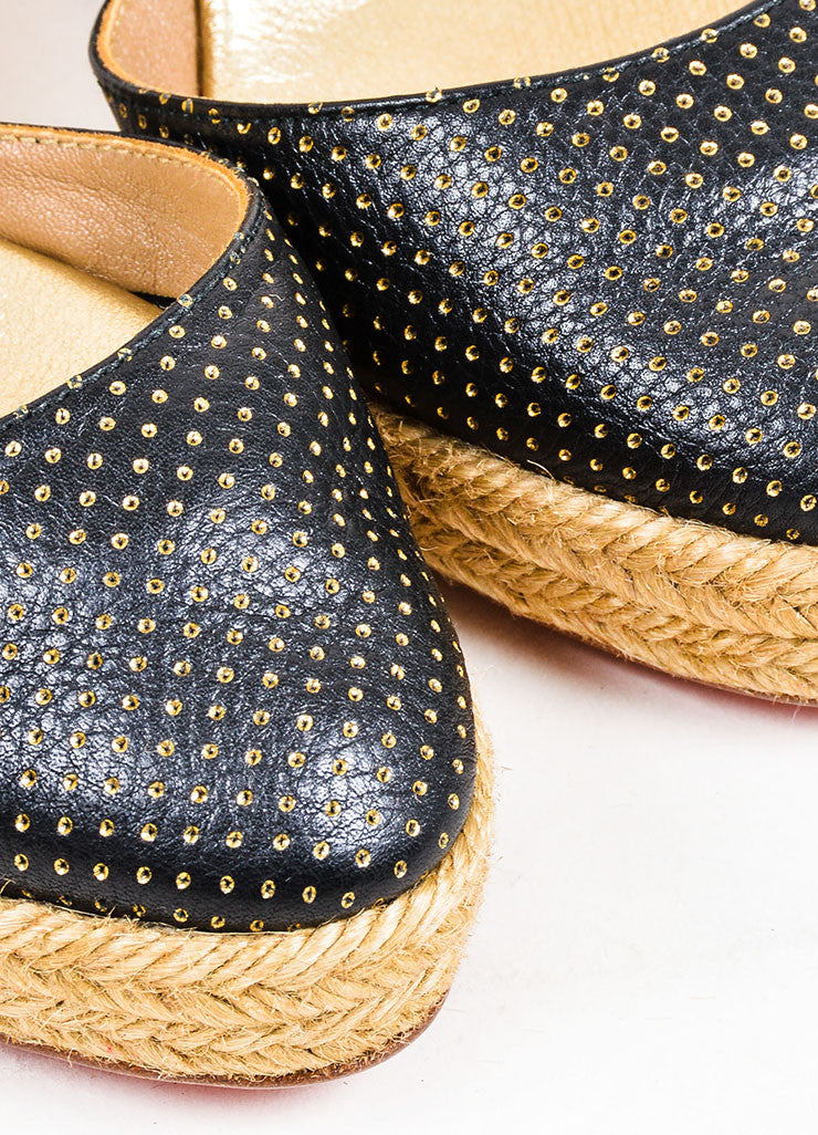 Black and Gold Christian Louboutin Perforated Leather Espadrille Wedges Detail