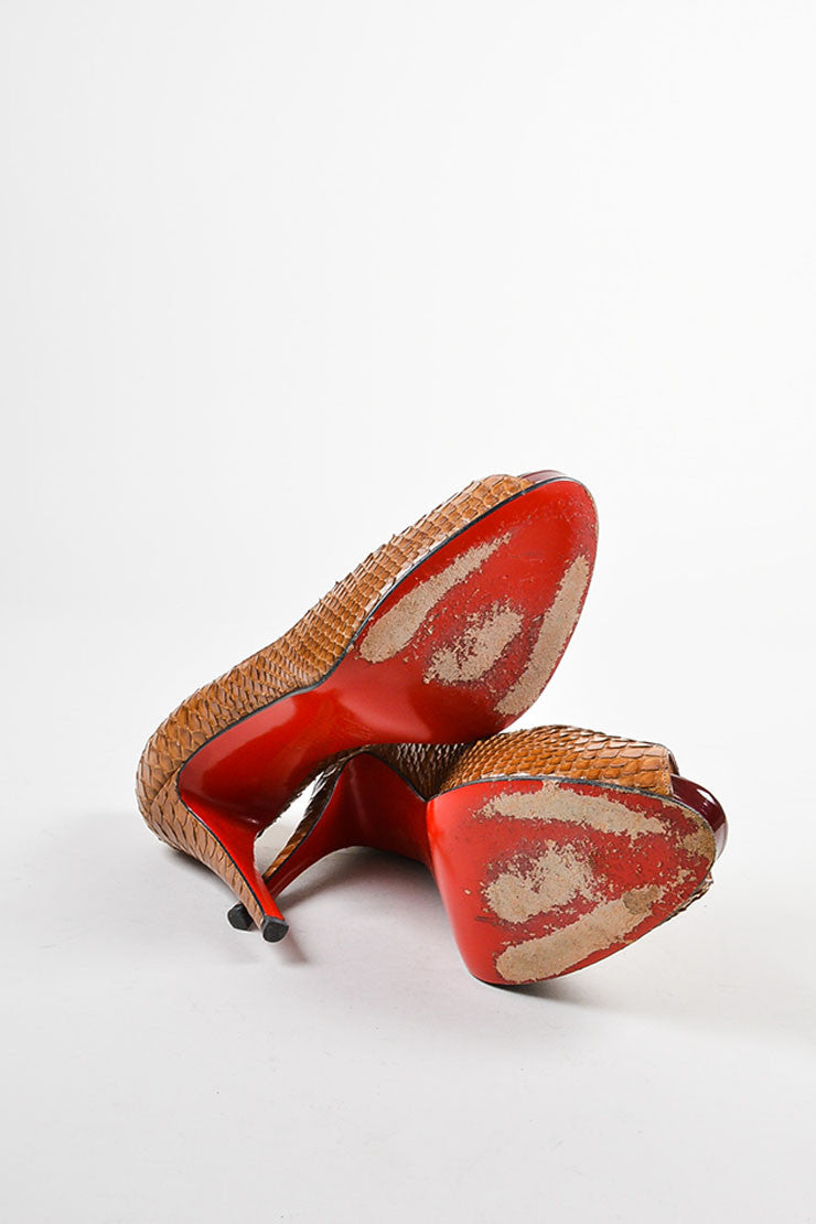 "Christian Louboutin Brown Python ""Very Prive"" Peep Toe Platform Pumps Outsoles"