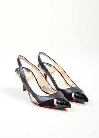 "Black Leather and PVC Christian Louboutin ""Air Chance 70"" Slingbacks Frontview"