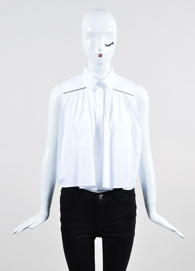 Christopher Kane White Cotton Button Down Pleated Trapeze Crop Top Frontview