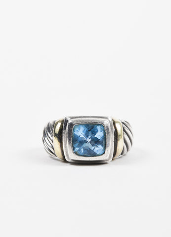 David Yurman Sterling Silver 14K Yellow Gold Blue Topaz Ring Frontview