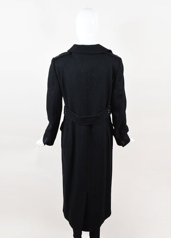 Dolce & Gabbana Black Double Breasted Ankle Length Long Coat Backview