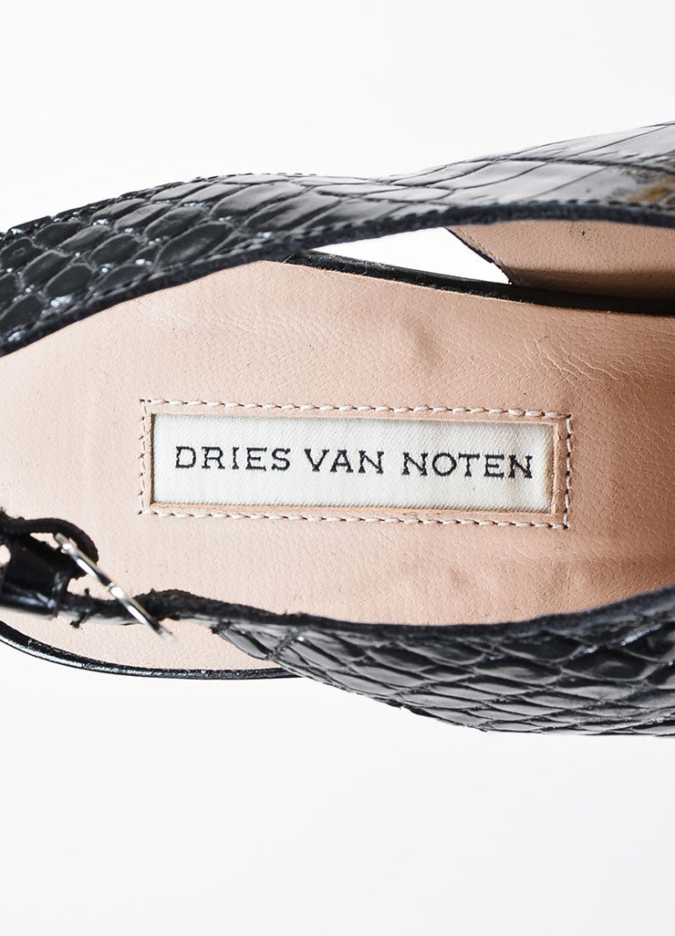 Dries Van Noten Gold and Black Leather Snake Croc Embossed Platform Heels Brand