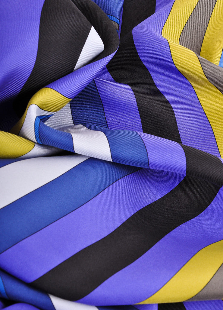 Emilio Pucci Multicolor Abstract Print and Striped Border Silk Scarf Detail