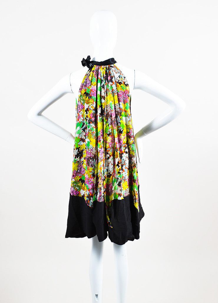 Black and Multicolor Etro Silk Floral Print Tie Neck Sleeveless Trapeze Dress Backview