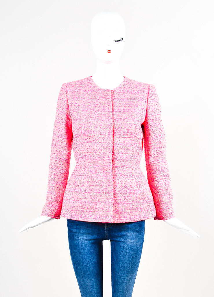 Neon Pink Giambattista Valli Woven Tweed Long Sleeve Blazer Jacket Front 2