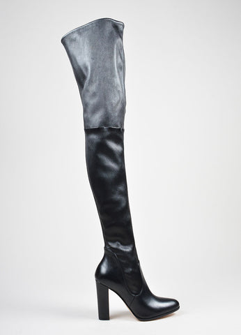 Black Gianvito Rossi Leather Stretchy Pull On Thigh High Boots Sideview