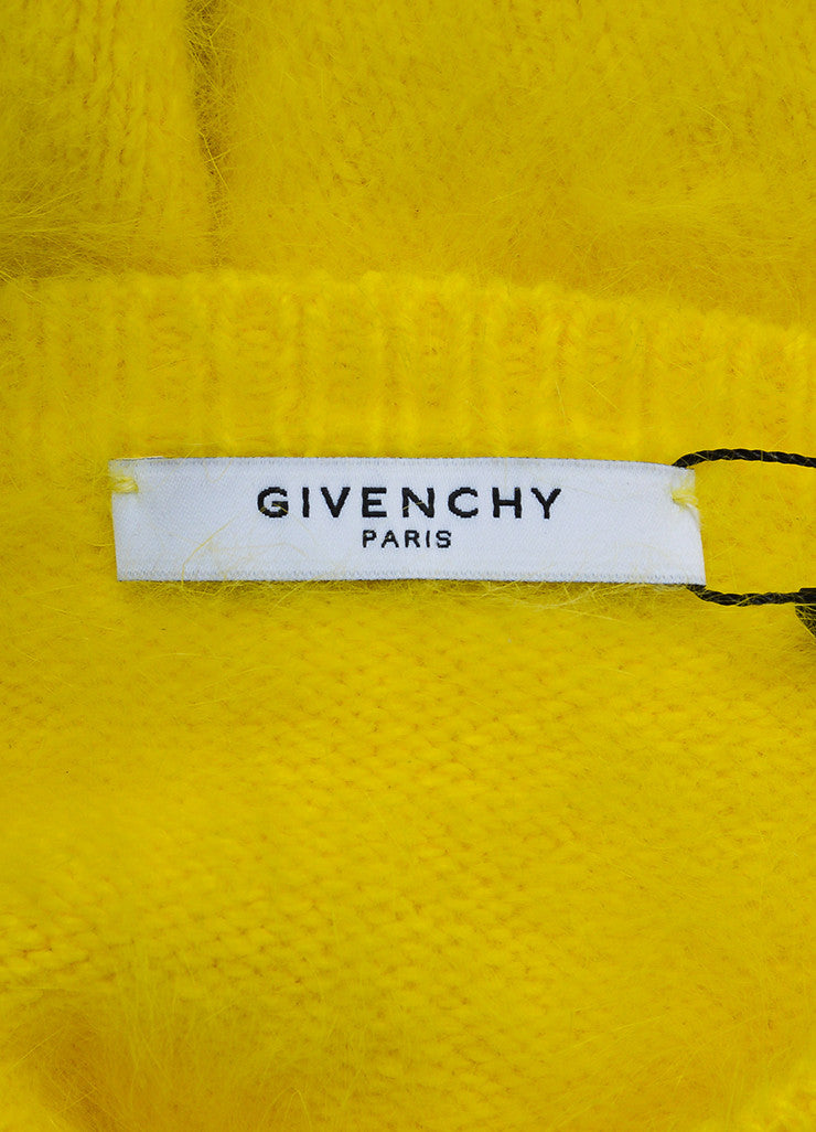 Yellow Givenchy Angora Floral Patch Fuzzy Long Sleeve Crop Sweater Brand