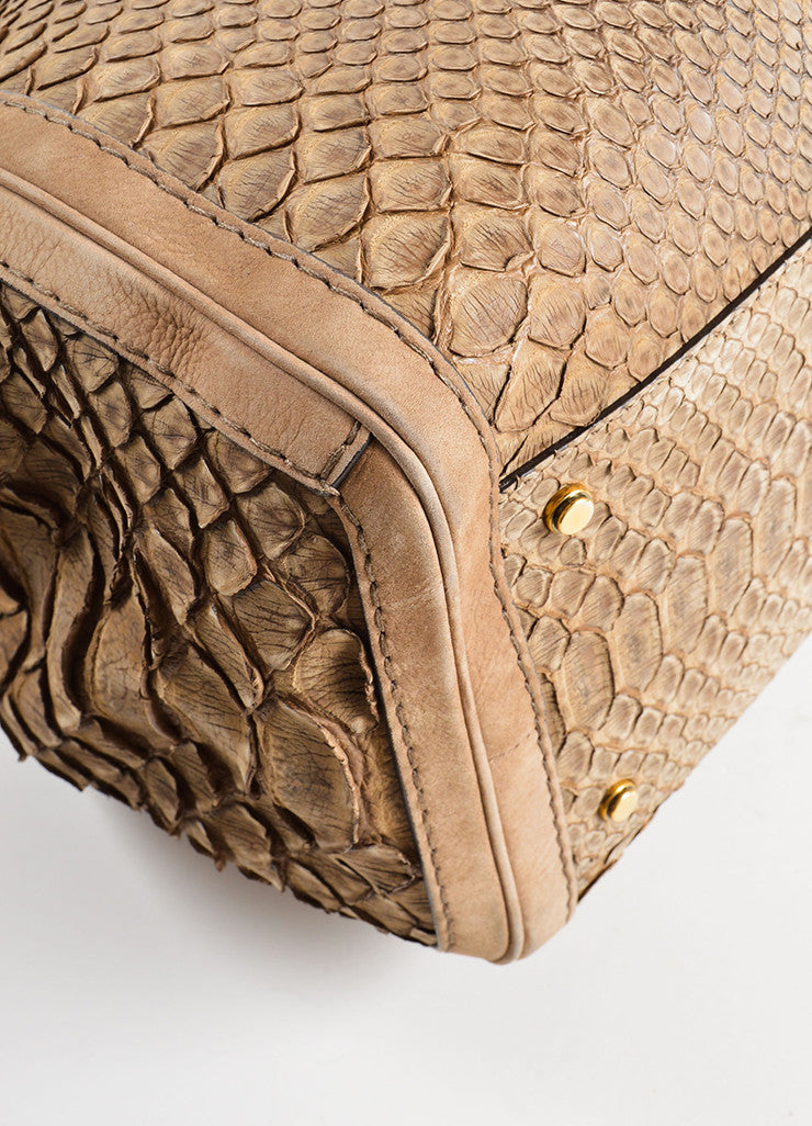 "Gucci Light Brown Suede Leather Python Effect ""GG Running"" Tote Bag Detail"