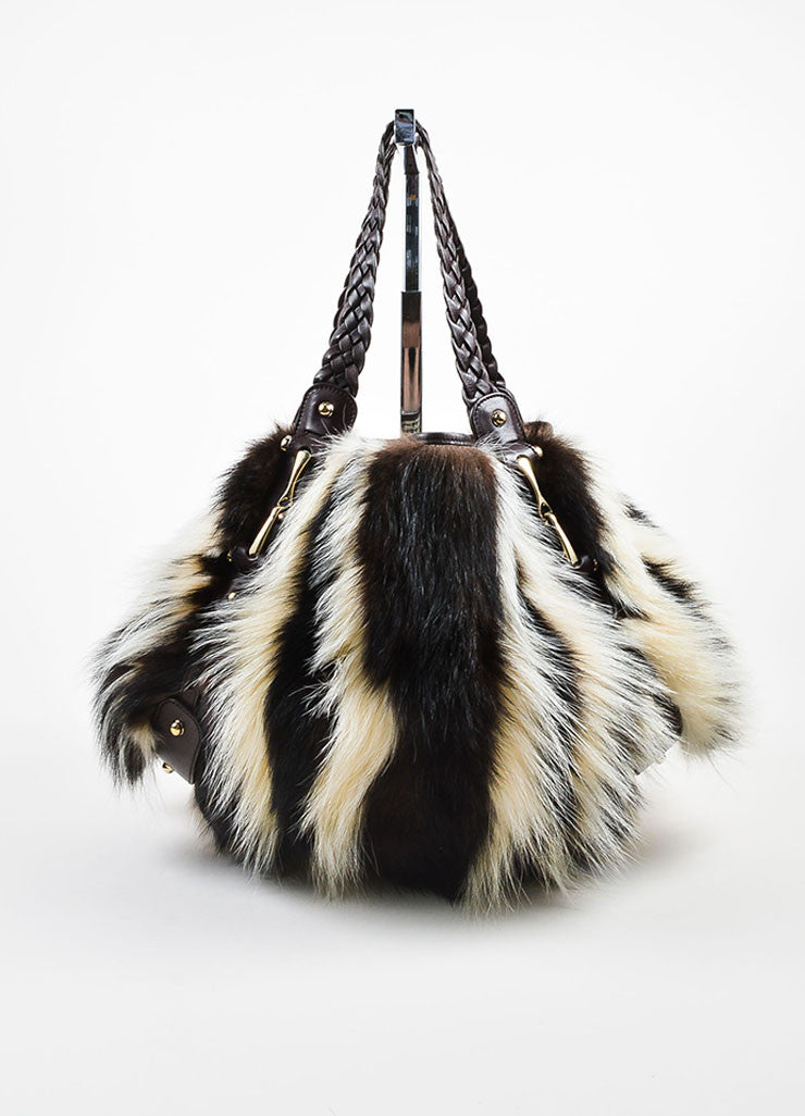 "Brown and White Gucci Fitch Fur Leather Limited Edition ""Pelham Medium"" Bag Frontview"