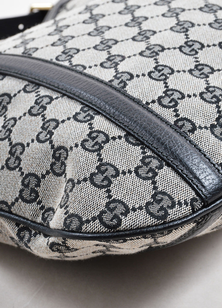 "Gucci Black ""GG"" Monogram Canvas Hobo Bag Detail"