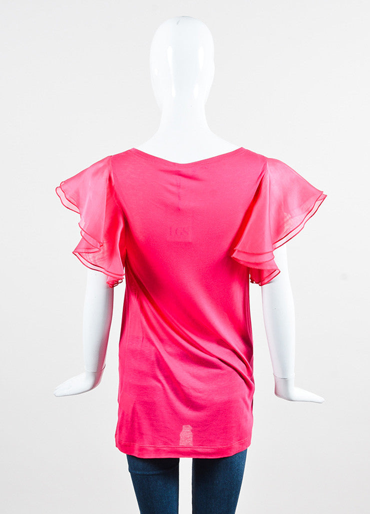 Gucci Hot Pink Silk Flutter Sleeve Knit Scoop Neck Top