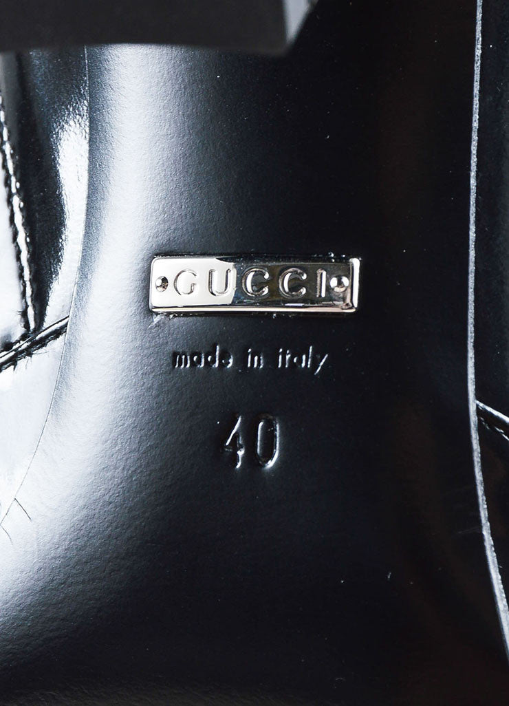 "Black Gucci Patent Leather Horse Bit ""Regent"" Mid Calf Boots Brand"