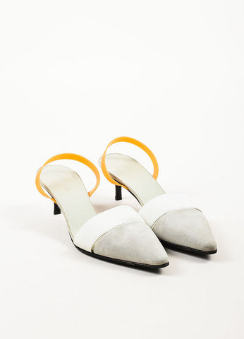 Helmut Lang White, Dove Grey, and Tan Suede Rubber Slingback Kitten Heels Frontview