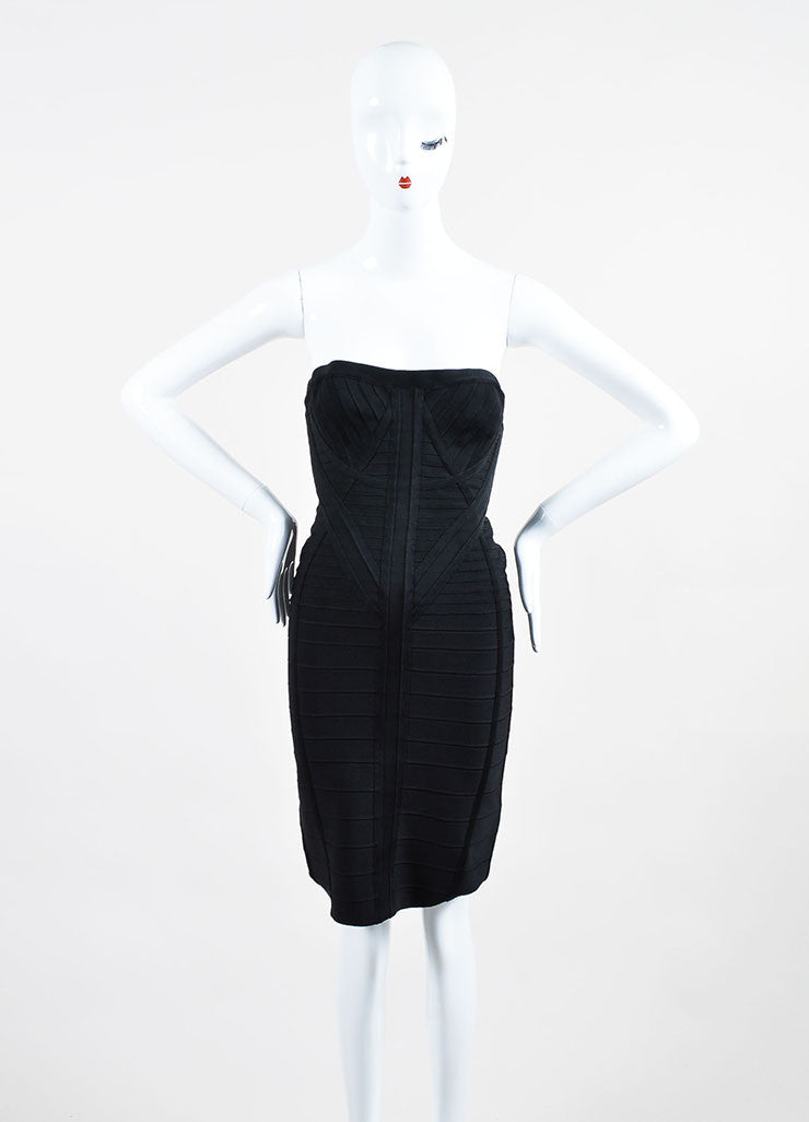 "Black Herve Leger Strapless Bodycon Bandage ""Kabele"" Dress Frontview"