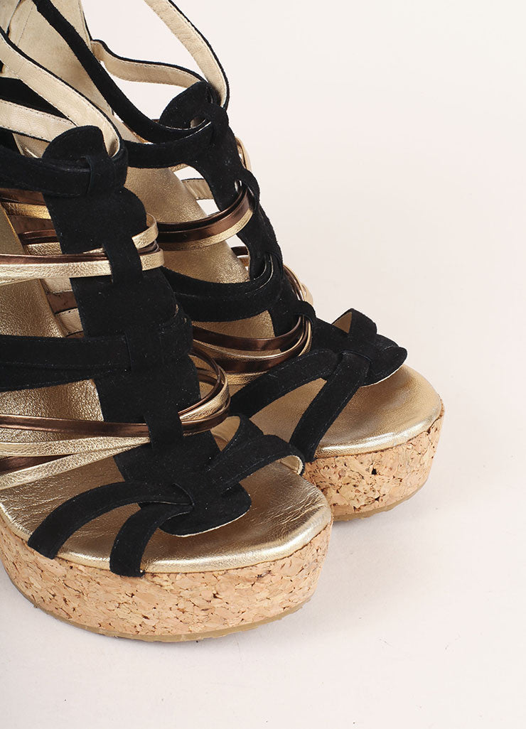 Jimmy Choo Black and Gold Suede Peekaboo Cork Wedges Detail