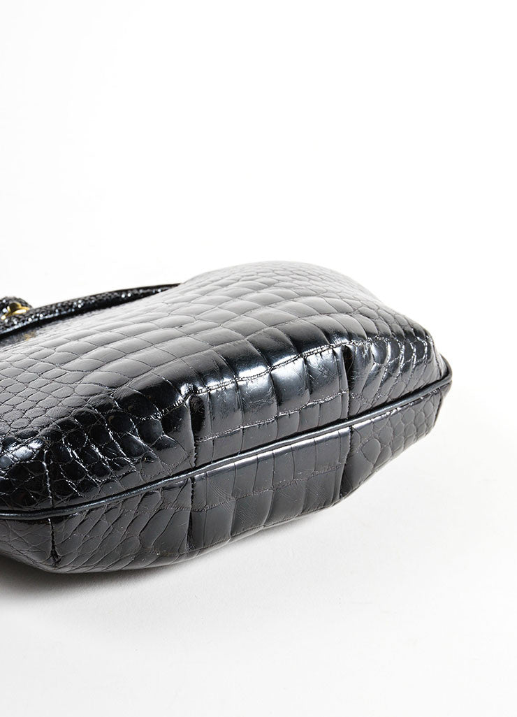 Judith Leiber Black Alligator Leather Chain Strap Clutch Bag Bottom View