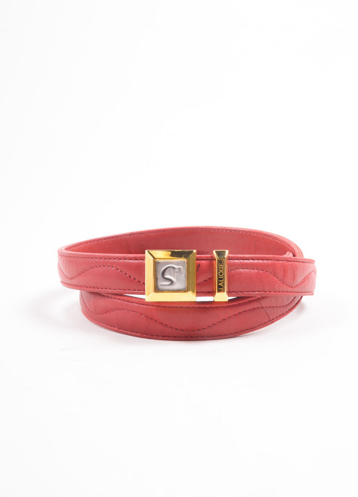 Lalique Red Leather Quilted Embellished Thin Buckle Belt Frontview
