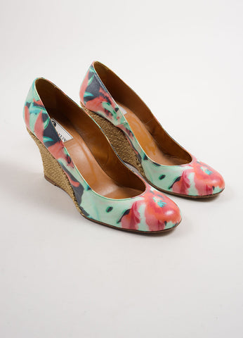Lanvin Multicolor Coated Canvas Floral Print Espadrille Wedge Pumps Frontview