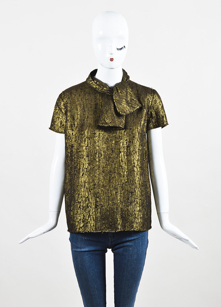 Lanvin Gold Metallic Textured Silk Lame Short Sleeve Neck Tie Blouse Top Frontview