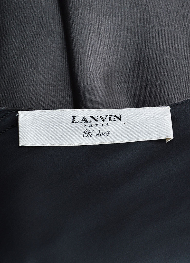 Lanvin Smoky Grey Asymmetrical Bat Wing Sleeveless Dress Brand