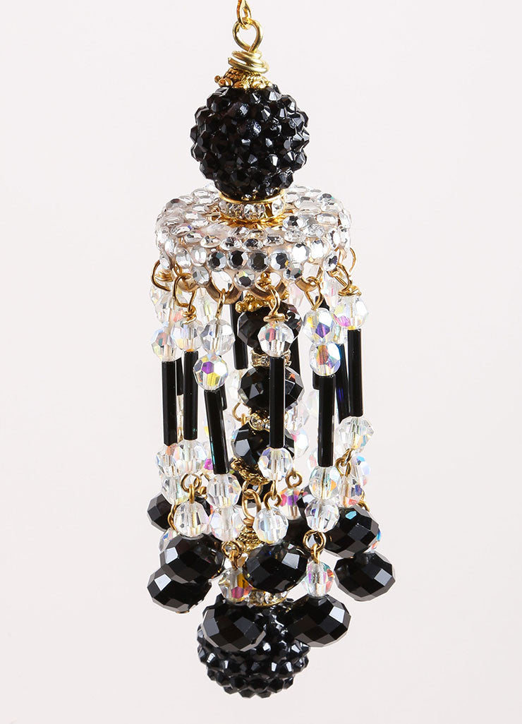 Lawrence Vrba Black and Gold Toned Bead and Rhinestone Chandelier Earrings Detail 2