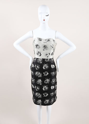 Lela Rose New With Tags Grey and Black Silk Floral Strapless Sheath Dress Frontview