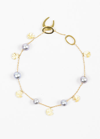 "Links of London 18K Yellow Gold and Pearl ""Watch Over Me Purity"" Bracelet Frontview"