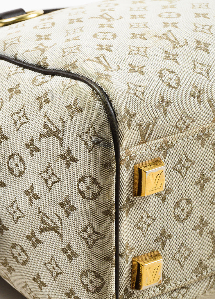 "Beige & Green Louis Vuitton Canvas Monogram ""Josephine PM"" Bag Detail 2"