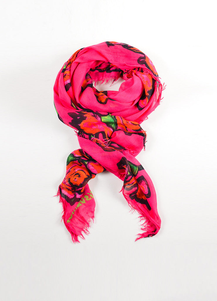 Louis Vuitton x Stephen Sprouse Pink and Red Cashmere and Silk Rose Print Fringe Scarf Frontview