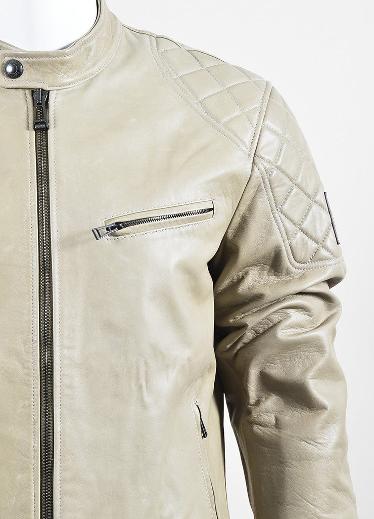 "Men's Belstaff Beige Leather Quilted ""Braxton"" Moto Jacket Detail"