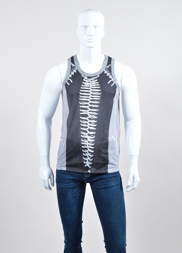 Men's Givenchy Grey and Black Laced Photo Print Tank Top Frontview