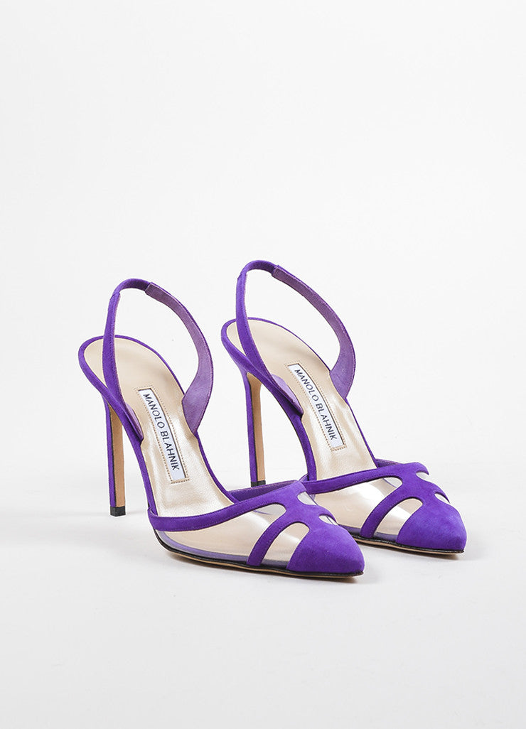 Manolo Blahnik Purple PVC Suede 'Ianc' Pointed Slingback Heels Frontview